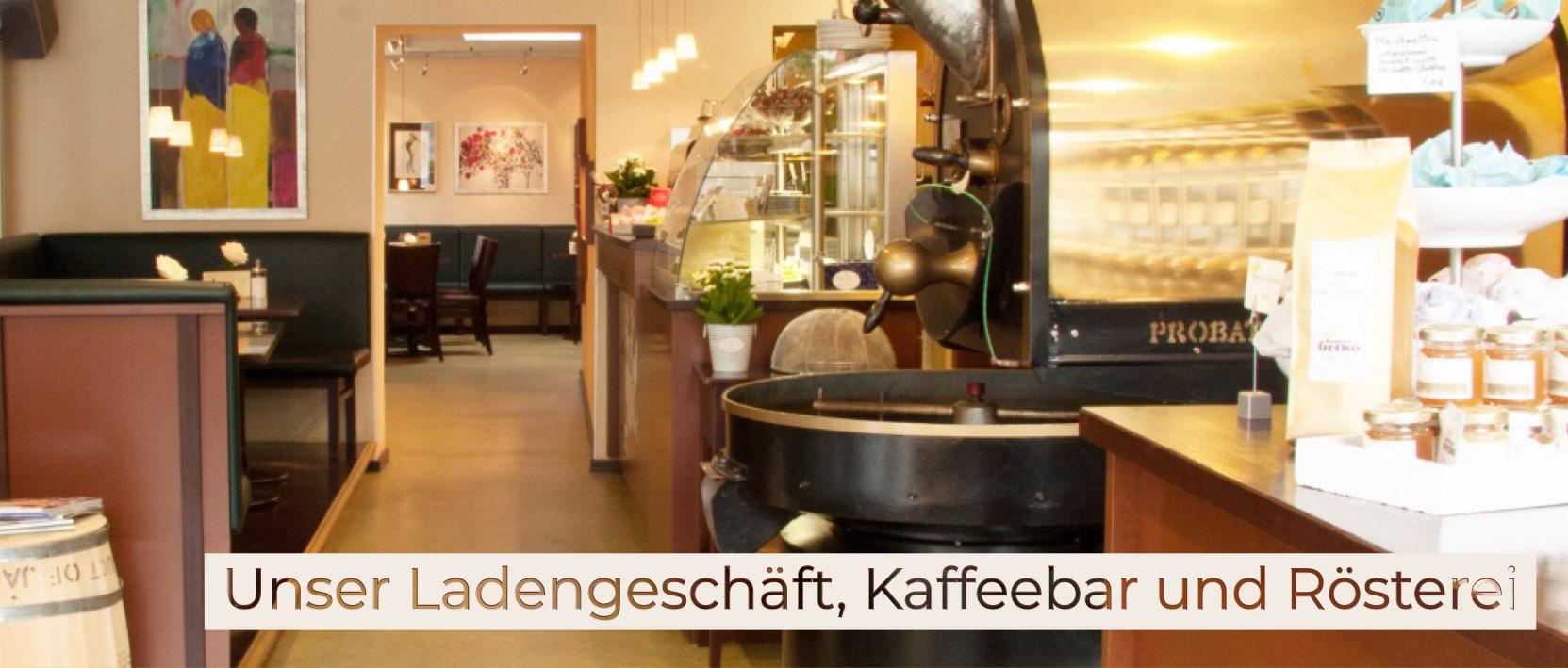 Blick in das Ladengeschäft, Kaffeebar und Rösterei